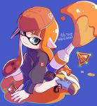 1girl arm_support artist_name bangs baseball_cap black_jacket black_shorts blue_background blue_footwear blunt_bangs closed_mouth commentary_request domino_mask full_body green_eyes hat inkbrush_(splatoon) inkling inumaru_akagi jacket leaning_forward logo long_hair long_sleeves looking_at_viewer mask orange_hair orange_hat paint_splatter pixiv_id pointy_ears shoes shorts sideways_hat sitting smile solo splat_bomb_(splatoon) splatoon splatoon_1 wariza