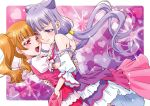 2girls :d aisaki_emiru bangs bare_shoulders blunt_bangs blush boo_(takagi) brown_hair closed_mouth cure_amour cure_macherie detached_sleeves eyebrows_visible_through_hair heart heart_background highres hug hugtto!_precure long_hair looking_at_viewer low_twintails magical_girl multiple_girls open_mouth precure puffy_short_sleeves puffy_sleeves purple_hair red_eyes ruru_amour short_hair short_sleeves smile twintails yuri