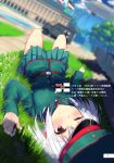 1girl adapted_uniform aircraft armored_vehicle belt blimp blurry building depth_of_field dirigible doujinshi dutch_angle flag grass ground_vehicle hat highres karo-chan lying military military_uniform on_back one_eye_closed original outdoors path perspective pleated_skirt road shade short_hair silver_hair skirt sky soldier tree uniform violet_eyes world_war_i