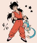 1boy :d animal belt black_eyes black_footwear black_hair clenched_hands commentary_request dated dougi dragon_ball dragonball_z floating full_body long_hair looking_away male_focus muscle number number_pun open_mouth pink_background puar simple_background sleeveless smile spiky_hair star tail yamcha