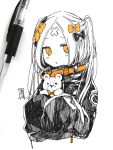1girl abigail_williams_(fate/grand_order) alternate_hairstyle bangs black_bow black_jacket blonde_hair blush bow fate/grand_order fate_(series) hair_bow hair_bun holding holding_stuffed_animal jacket long_hair long_sleeves looking_at_viewer orange_bow orange_eyes parted_bangs parted_lips photo sleeves_past_fingers sleeves_past_wrists sofra solo stuffed_animal stuffed_toy teddy_bear traditional_media two_side_up