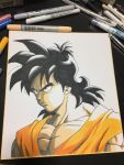 1boy black_eyes black_hair chest close-up commentary_request dougi dragon_ball dragonball_z expressionless face frown graphite_(medium) highres lee_(dragon_garou) long_hair looking_away male_focus marker_(medium) mechanical_pencil muscle paper pencil photo serious shaded_face shikishi short_hair simple_background spiky_hair traditional_media upper_body white_background yamcha