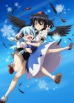 2girls bangs black_hair black_neckwear black_ribbon black_skirt black_wings blue_background blue_bow blue_dress blue_eyes blush blush_stickers bobby_socks bow brown_footwear camera cirno commentary_request dress eyebrows_visible_through_hair feathered_wings feathers feet_out_of_frame full_body geta hair_between_eyes hair_bow hands_up hat holding holding_another holding_camera ice ice_wings leg_up looking_at_viewer lunamoon miniskirt multiple_girls neck_ribbon one_eye_closed open_mouth petticoat pinafore_dress puffy_short_sleeves puffy_sleeves red_eyes red_footwear red_neckwear red_ribbon ribbon shameimaru_aya shirt shoes short_hair short_sleeves skirt snowflakes socks tassel tengu-geta the_memories_of_phantasm thighs tokin_hat touhou v white_legwear white_shirt wings