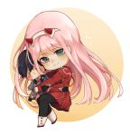 1girl bangs black_legwear blush boots chibi commentary darling_in_the_franxx doll dress english_commentary eyebrows_visible_through_hair green_eyes hair_ornament hairband highres hiro_(darling_in_the_franxx) holding holding_doll horns julilyn long_hair long_sleeves looking_at_viewer military military_uniform necktie oni_horns orange_neckwear pantyhose pink_hair red_dress red_horns solo uniform white_footwear white_hairband zero_two_(darling_in_the_franxx)