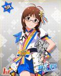 akizuki_ritsuko blush brown_eyes brown_hair dress glasses idolmaster idolmaster_million_live! idolmaster_million_live!_theater_days long_hair smile twin_braids