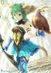 1girl animal_ears arm_belt artist_name atalanta_(fate) bird bird_on_hand blonde_hair blue_footwear blue_gloves blue_skirt boots bow_(weapon) breasts cat_ears cat_tail chinchongcha choker day fate/apocrypha fate_(series) floating_hair gloves green_eyes green_hair highres holding holding_bow_(weapon) holding_weapon miniskirt multicolored_hair outdoors pleated_skirt shiny shiny_hair sideboob skirt small_breasts solo stairs standing striped tail thigh-highs thigh_boots two-tone_hair watermark weapon web_address