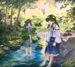 2girls backpack bag bare_shoulders barefoot blue_hair brown_footwear commentary_request detached_sleeves facing_another footwear_removed forest frog_hair_ornament green_eyes green_hair green_hat hair_ornament hat kawashiro_nitori kochiya_sanae marker_(medium) multiple_girls nature open_mouth rock shadow shiratama_(hockey) shoes_removed snake_hair_ornament stream touhou traditional_media tree wading