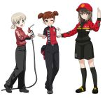3girls :d absurdres aki_(girls_und_panzer) alternate_costume bangs baseball_cap black_belt black_footwear black_legwear black_pants black_shorts blunt_bangs brown_eyes brown_hair closed_mouth collared_shirt commentary_request dated employee_uniform english excel_(shena) eyebrows_visible_through_hair from_side full_body gas_pump_nozzle girls_und_panzer green_eyes hair_tie hat hat_removed headwear_removed highres holding jacket kneehighs light_brown_hair logo long_hair long_sleeves looking_at_viewer mika_(girls_und_panzer) mikko_(girls_und_panzer) multiple_girls open_mouth pants reaching_out receipt red_eyes red_hat red_jacket red_shirt redhead shell_(company) shirt shoes short_hair short_sleeves short_twintails shorts simple_background smile standing standing_on_one_leg tire twintails twitter_username uniform watermark white_background