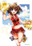1girl :d blue_eyes blue_sky brown_hair cheerleader clouds cloudy_sky commentary_request cross-laced_footwear eyebrows_visible_through_hair green_legwear hair_ornament hairclip holding leg_up legs looking_at_viewer lyrical_nanoha mahou_shoujo_lyrical_nanoha mahou_shoujo_lyrical_nanoha_a's midriff navel open_mouth pom_poms red_footwear red_shirt san-pon shirt short_hair sky sleeveless sleeveless_shirt smile socks solo standing standing_on_one_leg star thigh_gap thigh_strap twitter_username wristband x_hair_ornament yagami_hayate