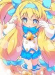 1girl :o bangs bell blazblue blonde_hair blue_eyes blue_hairband blue_ribbon blue_skirt blush boots covered_navel dot_nose eyebrows_visible_through_hair gloves hair_between_eyes hair_intakes hair_ribbon hairband heart heart-shaped_pupils highres jingle_bell long_hair low-tied_long_hair miniskirt open_mouth perorisu platinum_the_trinity pleated_skirt ribbon skirt solo symbol-shaped_pupils two_side_up very_long_hair white_footwear white_gloves