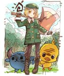 1girl axe babe_(fate) beret bird blonde_hair blue_sky blush blush_stickers boots brown_footwear brown_gloves brown_legwear closed_mouth clouds cloudy_sky collared_jacket commentary_request cross-laced_footwear day directional_arrow fate/grand_order fate_(series) forest giantess gloves green_hat green_jacket haku_(sabosoda) hand_up hat head_tilt holding holding_axe horns jacket knee_boots lace-up_boots long_sleeves nature orange_eyes outdoors pantyhose paul_bunyan_(fate/grand_order) sky smile standing tree