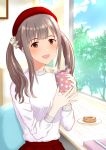 1girl :d blush box brown_eyes brown_hair cup doughnut food gift gift_box hair_ornament hair_scrunchie hat holding holding_cup idolmaster idolmaster_cinderella_girls indoors long_hair looking_at_viewer mizumoto_yukari open_mouth red_hat red_skirt scrunchie shiny shiny_hair sitting skirt smile solo sparkle steam sweater toufuu twintails upper_body white_scrunchie white_sweater window