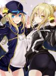 2girls :d ahoge artoria_pendragon_(all) bike_shorts black_jacket black_shorts blonde_hair blue_buruma blue_eyes blue_hat blue_jacket blue_scarf braid buruma eyebrows_visible_through_hair fate/grand_order fate_(series) food fuku_kitsune_(fuku_fox) glasses grey-framed_eyewear grey_background gym_uniform hair_between_eyes hand_holding hat highres holding holding_food jacket long_hair looking_at_viewer multiple_girls mysterious_heroine_x mysterious_heroine_x_(alter) open_clothes open_jacket open_mouth ponytail scarf semi-rimless_eyewear shiny shiny_hair shirt short_shorts shorts smile standing tied_hair under-rim_eyewear unzipped white_shirt yellow_eyes