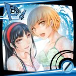 2girls :d amagi_yukiko arkatopia black_hair blonde_hair breasts brown_eyes cleavage collarbone copyright_name eyebrows_visible_through_hair green_bikini_top hairband long_hair medium_breasts multiple_girls open_mouth persona persona_4 pink_bikini_top red_hairband satonaka_chie shiny shiny_hair short_hair sideboob smile sparkle sunlight upper_body