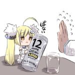 1girl ahoge alcohol azur_lane bangs bare_shoulders blonde_hair brown_eyes can chibi commentary_request cup detached_sleeves dress drinking_glass eldridge_(azur_lane) eyebrows_visible_through_hair flying_sweatdrops fur_trim hair_ornament hairclip holding holding_can long_hair long_sleeves minigirl out_of_frame puffy_long_sleeves puffy_sleeves simple_background sleeveless sleeveless_dress solo_focus standing table thigh-highs translation_request twintails u-non_(annon'an) very_long_hair white_background white_dress white_footwear white_legwear