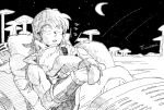 1boy 2018 black closed_eyes commentary_request crescent_moon dated dragon_ball dragon_ball_(classic) fingernails hug long_hair male_focus monochrome moon night night_sky open_mouth outdoors pillow puar shooting_star sitting sky sleeping sleeping_on_person star_(sky) starry_sky tail twitter_username white wristband yamcha