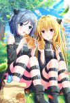 2girls alternative_girls bangs bare_shoulders black_dress black_footwear blonde_hair blue_butterfly blue_eyes blue_hair blue_sky blush breasts bunny_hair_ornament clouds cloudy_sky cosplay crossover day detached_sleeves dress eyebrows_visible_through_hair flower food grey_hair hair_intakes hair_ornament highres holding holding_food konjiki_no_yami konjiki_no_yami_(cosplay) leaf long_hair long_sleeves looking_at_another multiple_girls official_art open_mouth orange_petals orimiya_yui outdoors pink_lips red_eyes red_flower red_petals short_hair sky small_breasts smile taiyaki thigh_strap to_love-ru to_love-ru_darkness tree two_side_up very_long_hair wagashi yellow_butterfly yellow_flower