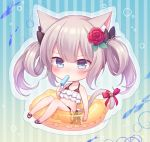 1girl amane_kurumi animal animal_ears azur_lane bangs bare_arms bare_shoulders bell bikini bikini_skirt black_bow black_footwear blue_eyes blush bow cat_ears cat_girl cat_tail chibi closed_mouth collarbone eating eyebrows_visible_through_hair fish flower food goldfish hair_between_eyes hair_bow hair_flower hair_ornament hammann_(azur_lane) holding holding_food jingle_bell long_hair looking_at_viewer popsicle red_bikini_top red_bow red_flower red_rose rose sandals silver_hair solo striped striped_background swimsuit tail tail_bell tail_bow twintails vertical-striped_background vertical_stripes