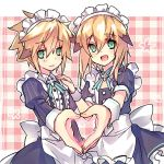 2boys april_fools apron blush chung_seiker elsword fury_guardian_(elsword) heart heart_hands maid_apron maid_dress maid_headdress multiple_boys shooting_guardian_(elsword) simple_background smile trap wanko_(takohati8)
