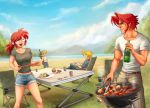 2boys 2girls :d bandanna belt black_pants black_shirt blue_pants blue_shorts blue_sky book brown_hair camping chair cigarette_box closed_eyes clouds cloudy_sky commentary cup day denim denim_shorts fio_germi folding_chair food glass green_bandana grill hamburger holding holding_book hot_dog jeans kasamoto_eri looking_at_another marco_rossi medium_hair metal_slug midriff mountain multiple_boys multiple_girls open_mouth outdoors pants plate ponytail sasisage shirt shishkebab short_hair shorts sitting sky smile smoke standing steak sunglasses t-shirt table tank_top tarma_roving tongs white_shirt