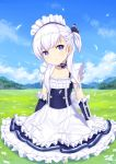 1girl :o apron azur_lane belchan_(azur_lane) belfast_(azur_lane) blue_dress blue_ribbon blue_sky bow braid clouds commentary_request day dress elbow_gloves field freonclayr frilled_apron frills gloves grass hair_ribbon head_tilt long_hair maid_headdress mountain on_grass one_side_up outdoors parted_lips ribbon sidelocks silver_hair sitting sky sleeveless sleeveless_dress solo striped striped_ribbon waist_apron white_apron white_bow white_gloves
