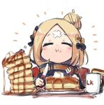 abigail_williams_(fate/grand_order) black_jacket butter chibi closed_eyes cup eating fate/grand_order fate_(series) food fork hair_bun jacket knife mug pancake stack_of_pancakes sukima_(crie) syrup upper_body