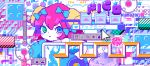 1girl abstract blue_bow blue_eyes blush bomb bow buttons cursor eighth_note game_boy green_eyes hair_between_eyes hair_bow hammer handheld_game_console icon m7kenji musical_note original pixel_art redhead short_hair solo translation_request