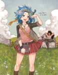 1boy 1girl 2018 :d armpits arms_behind_head bird bird_on_hand black_hair blue_hair boots borrowed_garments breasts brown_footwear brown_hairband brown_jacket brown_pants cat cleavage clouds collarbone dated day fairy_tail flower gajeel_redfox grey_shirt hair_flower hair_ornament hairband holding jacket jewelry levy_mcgarden long_hair medium_breasts miniskirt necklace open_clothes open_jacket open_mouth outdoors pantherlily pants pink_shirt pleated_skirt red_skirt rusky shirt skirt sleeveless sleeveless_shirt smile spiky_hair very_long_hair white_flower