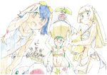 3boys 3girls absurdres bikini blue_eyes blue_hair blush_stickers breasts colored_pencil_(medium) goggles graphite_(medium) green_eyes green_hair haisaihaisai highres kaki_(pokemon) lillie_(pokemon) mamane_(pokemon) mao_(pokemon) mega_gyarados multiple_boys multiple_girls pikachu pokemon pokemon_(anime) pokemon_sm_(anime) popplio rotom rotom_dex rowlet satoshi_(pokemon) sharpedo steenee suiren_(pokemon) swimsuit traditional_media under_boob wailmer