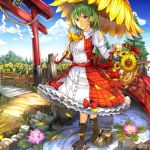 1girl ascot basket blue_sky bow breasts bridge brown_footwear center_frills clouds commentary_request day dress fence flower flower_umbrella frilled_shirt_collar frills full_body grass green_hair hair_between_eyes holding holding_basket holding_umbrella juliet_sleeves kazami_yuuka large_breasts leaf lily_pad long_sleeves looking_at_viewer nature outdoors petals petticoat pink_flower puffy_sleeves red_bow red_eyes red_sash red_skirt red_vest river rock rope sash shide shimenawa short_hair skirt sky smile solo standing sunflower torii touhou tree umagenzin umbrella vest walking water white_dress white_flower wing_collar yellow_neckwear yellow_umbrella