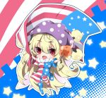 1girl :d american_flag american_flag_dress american_flag_legwear bangs blonde_hair blush breasts clownpiece commentary_request dress eyebrows_visible_through_hair fang flag hair_between_eyes hat holding holding_flag holding_torch horizontal-striped_dress jester_cap long_hair medium_breasts milkpanda mismatched_legwear neck_ruff open_mouth print_dress print_legwear red_eyes smile solo star star_print striped striped_legwear thigh-highs torch touhou very_long_hair