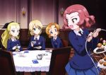 4girls :d absurdres assam black_bow black_neckwear blonde_hair blue_eyes blue_skirt blue_sweater bow brown_eyes cup darjeeling floating_hair girls_und_panzer hair_bow highres holding holding_cup indoors leaning_forward long_hair looking_back miniskirt multiple_girls necktie official_art open_mouth orange_pekoe pleated_skirt ponytail redhead rosehip shiny shiny_hair shirt short_hair skirt smile st._gloriana's_school_uniform standing sweater table teacup tied_hair white_shirt yoshida_nobuyoshi