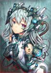 1girl blurry blurry_background bodysuit breasts eyebrows_visible_through_hair gia grey_eyes headgear long_hair looking_at_viewer mecha_musume mechanical_arms medium_breasts multicolored multicolored_eyes original silver_hair sleeveless solo tattoo