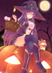 1girl basket bat blush breasts commentary_request eyebrows_visible_through_hair flower flower_knight_girl hat highres holding holding_basket jack-o'-lantern legs_crossed light_bulb long_hair looking_at_viewer moon night norinori_12th open_mouth outdoors purple_hair purple_legwear sitting solo star star_(sky) thigh-highs tree very_long_hair