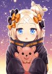 1girl 2018 :o abigail_williams_(fate/grand_order) bangs black_bow black_jacket blonde_hair blue_eyes bow breasts commentary_request crossed_bandaids cuffed eyebrows_visible_through_hair fate/grand_order fate_(series) hair_bow hair_bun heart highres holding holding_stuffed_animal jacket long_hair long_sleeves looking_at_viewer orange_bow parted_bangs parted_lips polka_dot polka_dot_bow round_teeth sasha_chii signature sleeves_past_fingers sleeves_past_wrists solo sparkle_background stuffed_animal stuffed_toy teddy_bear teeth upper_teeth