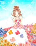 1girl :d :o aqua_eyes blush bow brown_hair bug butterfly choker clouds cloudy_sky commentary dress earrings field flower flower_earrings flower_field flower_request go!_princess_precure hair_bow hair_flower hair_ornament haruno_haruka heart highres insect interlocked_fingers jewelry long_dress looking_at_viewer marker_(medium) mikan_(mikataaaa) open_mouth outdoors own_hands_together petals precure puff_(go!_princess_precure) short_hair sky smile thick_eyebrows traditional_media violet_eyes