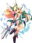 1girl blonde_hair blue_eyes bow breasts brown_footwear chingisu cleavage dress eyebrows_visible_through_hair forehead_jewel green_bow green_dress hair_bow holding holding_spear holding_weapon long_hair low-tied_long_hair pauldrons polearm riesz seiken_densetsu seiken_densetsu_3 short_dress small_breasts solo spear strapless strapless_dress very_long_hair weapon