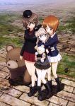3girls :d absurdres black_footwear black_hairband black_hat black_jacket black_skirt blue_jacket blue_legwear boots brown_eyes brown_hair day eyebrows_visible_through_hair full_body girls_und_panzer grey_jacket hair_between_eyes hairband hat highres holding holding_stuffed_animal hug hug_from_behind jacket kneehighs kuromorimine_military_uniform long_hair mini_hat miniskirt multiple_girls nishizumi_maho nishizumi_miho official_art ooarai_military_uniform open_mouth outdoors pleated_skirt red_skirt selection_university_military_uniform shimada_arisu shiny shiny_hair short_hair silver_hair skirt smile standing stuffed_animal stuffed_toy white_skirt yoshida_nobuyoshi