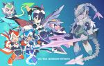 2girls 4boys animal_ears armor black_hair blue_eyes brown_eyes brown_hair copyright_name dark_skin dark_skinned_male fake_animal_ears glasses gun helmet hunk_(voltron) keith_(voltron) lance_(voltron) lion_ears lotor_(voltron) mecha_danshi mecha_musume mechanical_wings miyata_(lhr) multiple_boys multiple_girls open_mouth pidge_gunderson princess_allura purple_skin scar sky smile star_(sky) starry_sky sword violet_eyes voltron:_legendary_defender weapon white_hair wings