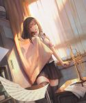 1girl bangs black_legwear blouse breasts brown_eyes brown_hair chair character_request commentary_request curtain_grab curtains desk dutch_angle highres instrument light_rays long_hair open_clothes open_mouth open_shirt original parted_lips pleated_skirt school_desk sheet_music sho_(shoichi-kokubun) skirt sunbeam sunlight swept_bangs trumpet