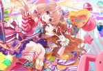 2girls :d ;d \m/ animal_ears balloon blue_background blue_hat bow brown_eyes brown_hair candy_hair_ornament detached_sleeves diagonal-striped_background diagonal_stripes food_themed_hair_ornament futaba_anzu gloves hair_bow hair_ornament hat heart heart_hair_ornament highres idolmaster idolmaster_cinderella_girls idolmaster_cinderella_girls_starlight_stage long_hair looking_at_viewer mismatched_legwear misumi_(macaroni) moroboshi_kirari multicolored_bow multiple_girls neck_ribbon one_eye_closed open_mouth orange_bow orange_legwear pink_background pink_bow pink_legwear pink_skirt polka_dot polka_dot_hat rabbit rabbit_ears red_bow red_eyes red_footwear red_ribbon ribbon skirt smile sparkle star striped striped_background striped_bow striped_skirt striped_sleeves top_hat v vertical-striped_skirt vertical_stripes white_background white_bow white_gloves white_legwear