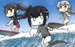 3girls alternate_costume ancient_destroyer_oni black_hair blue_eyes commentary dated day drill_hair english_commentary eyebrows_visible_through_hair hamu_koutarou highres kantai_collection long_hair multiple_girls ocean parted_lips ponytail red_eyes shinkaisei-kan silver_hair smile surfboard surfing violet_eyes waves white_skin yahagi_(kantai_collection) yamagumo_(kantai_collection)