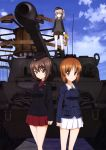 3girls absurdres black_hat black_jacket black_neckwear black_ribbon black_skirt blue_jacket blue_sky boko_(girls_und_panzer) brown_eyes brown_hair clouds collarbone day dress_shirt eyebrows_visible_through_hair girls_und_panzer ground_vehicle hair_between_eyes hair_ribbon hat highres holding holding_stuffed_animal jacket kuromorimine_military_uniform light_brown_hair looking_at_viewer military military_vehicle miniskirt motor_vehicle multiple_girls necktie nishizumi_maho nishizumi_miho official_art ooarai_military_uniform outdoors pleated_skirt red_shirt red_skirt ribbon selection_university_military_uniform shimada_arisu shiny shiny_hair shirt short_hair side_ponytail skirt sky stuffed_animal stuffed_toy tank white_skirt yoshida_nobuyoshi