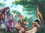 1girl 3boys alfyn_(octopath_traveler) angry black_hair blonde_hair boots brown_hair cape closed_eyes cyrus_(octopath_traveler) dress forest gloves hair_between_eyes hat highres jewelry long_hair multiple_boys nature octopath_traveler one_eye_closed open_mouth ponytail scarf short_hair smile st_beans_lal therion_(octopath_traveler) tressa_(octopath_traveler)