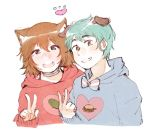 1boy 1girl animal_ears breasts brown_hair cat_ears green_eyes medium_breasts medium_hair otoko_no_ko sweatshirt traa-tan v