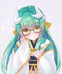 1girl adjusting_eyewear aqua_hair bespectacled black-framed_eyewear blush closed_mouth commentary_request d: dragon_horns eyebrows_visible_through_hair fate/grand_order fate_(series) glasses grey_background hair_ornament hand_on_own_chest hand_up head_tilt heart horns japanese_clothes kimono kiyohime_(fate/grand_order) long_hair long_sleeves looking_at_viewer nanahachi obi open_mouth ribbon sash shiny shiny_hair simple_background smile solo spoken_blush upper_body very_long_hair white_kimono wide_sleeves yellow_eyes yellow_ribbon