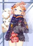 1girl abigail_williams_(fate/grand_order) balloon bangs black_bow black_jacket blonde_hair blue_eyes blush bow closed_mouth commentary_request eyebrows_visible_through_hair fate/grand_order fate_(series) hair_bow hair_bun head_tilt highres holding holding_balloon holding_stuffed_animal jacket long_hair long_sleeves looking_at_viewer mutang orange_bow parted_bangs polka_dot polka_dot_bow reflection sleeves_past_fingers sleeves_past_wrists solo stuffed_animal stuffed_toy teddy_bear