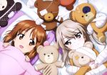 2girls :d absurdres bed_sheet black_hairband blush brown_eyes brown_hair eyebrows_visible_through_hair from_above girls_und_panzer hair_between_eyes hairband highres holding holding_stuffed_animal long_hair looking_at_viewer multiple_girls nishizumi_miho official_art open_mouth pillow shimada_arisu shiny shiny_hair side_ponytail silver_hair smile stuffed_animal stuffed_toy upper_body yoshida_nobuyoshi