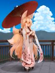 1girl :3 :d ahoge animal_ears bangs blonde_hair blue_sky blush clouds day eyebrows_visible_through_hair fang floral_print fox_ears fox_tail full_body hachachi hair_between_eyes highres japanese_clothes kimono lake long_hair long_sleeves looking_at_viewer mountain multiple_tails obi open_mouth orange_eyes oriental_umbrella original outdoors platform_clogs sash sky smile solo standing tail umbrella very_long_hair wide_sleeves