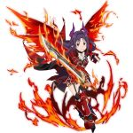1girl ahoge black_legwear bow bowtie cape choker collarbone fiery_wings fingerless_gloves fire floating_hair full_body garter_straps gloves grin high_heels holding holding_sword holding_weapon horns leaning_forward leg_up long_hair looking_at_viewer miniskirt pleated_skirt pointy_ears purple_gloves purple_hair red_eyes red_skirt red_wings simple_background skirt smile solo standing sword sword_art_online sword_art_online:_code_register thigh-highs weapon white_background white_bow white_neckwear wings yuuki_(sao)